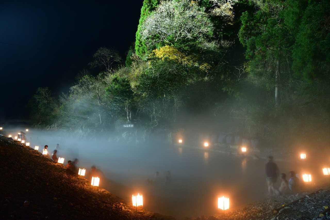 仙人風呂と灯籠